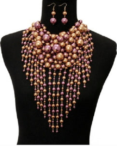 Purple and Gold Waterfall Pearl Statement Necklace with Matching Earrings