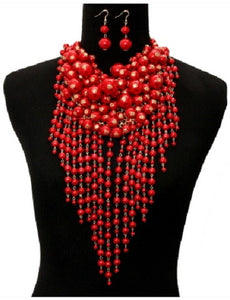 Red Waterfall Pearl Statement Necklace with Matching Earrings
