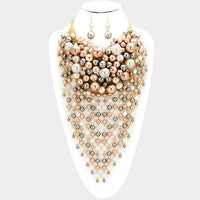 Brown, White, and Gray Waterfall Pearl Statement Necklace with Matching Earrings