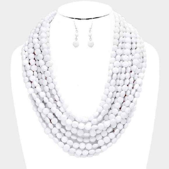 Multi Layered White Round Facet Beaded Necklace ( 6000 )