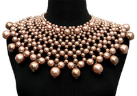 Brown Large Statement Pearl Collar Necklace with Matching Dangling Earrings