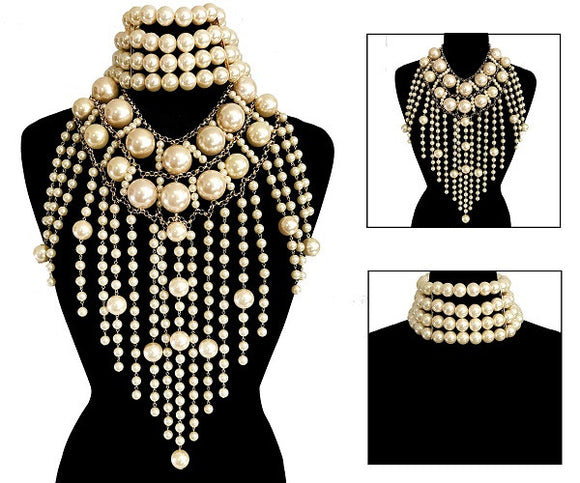 2 Piece Chunky Cream Pearl Statement Choker and Body Chain ( 6016 )