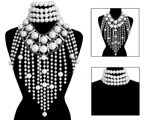 2 Piece Chunky White Pearl Statement Choker and Body Chain ( 6016 )
