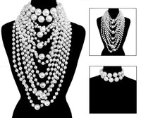 2 Piece Layered White Chunky Pearl Beaded Statement Necklace