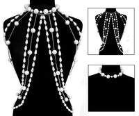 2 Piece White Pearl Statement Choker and Body Chain