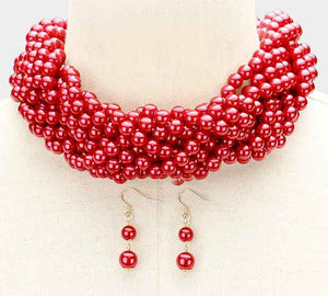 Braided Red Pearl Beaded Necklace ( 6022 )