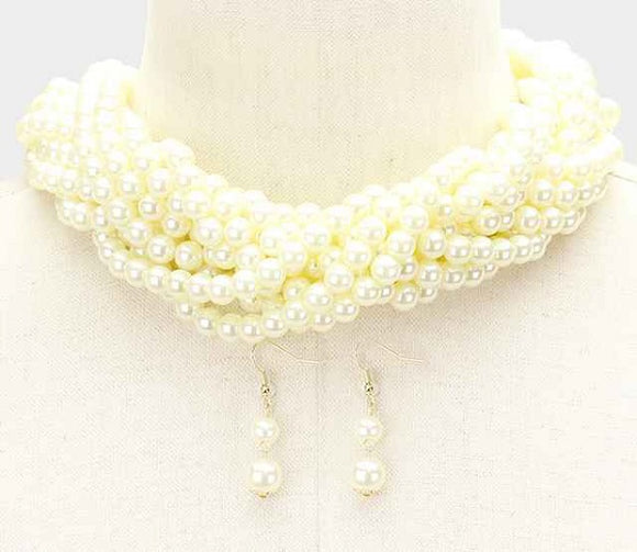 Braided Cream Pearl Beaded Necklace ( 6022 )