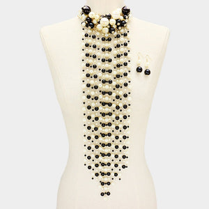 Black and Cream Clustered and Waterfall Statement Necklace ( 6028 )