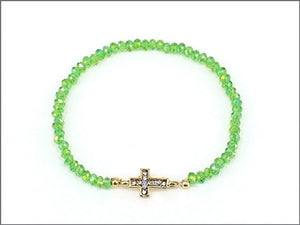 GOLD GREEN STRETCH BRACELET WITH GOLD CROSS ( 0435 )