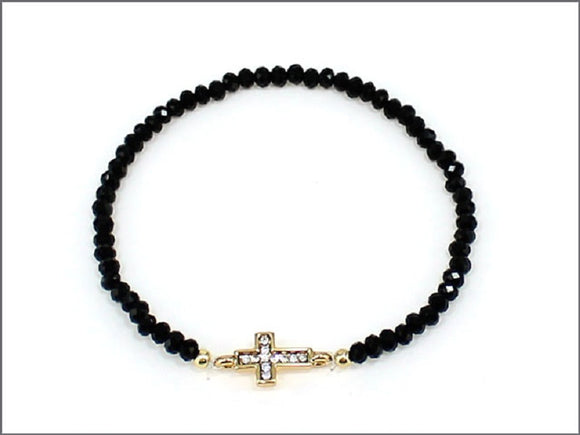 BLACK STRETCH BRACELET WITH GOLD CROSS ( 0435 )
