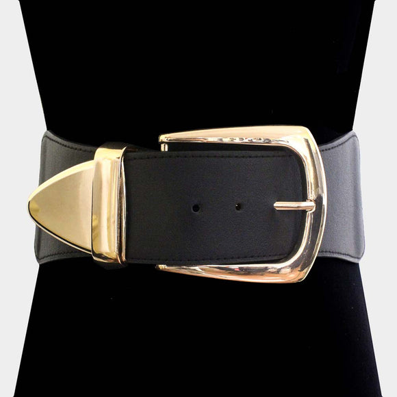 BLACK GOLD OVER SIZED BUCKLE FAUX LEATHER BELT ELASTIC ( 2511 )