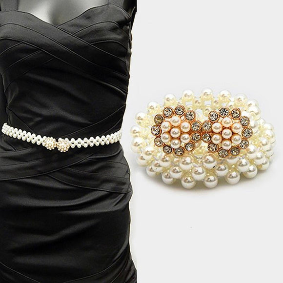 GOLD CREAM PEARL STRETCH BELT CLEAR STONES ( 5070 GDCRM )