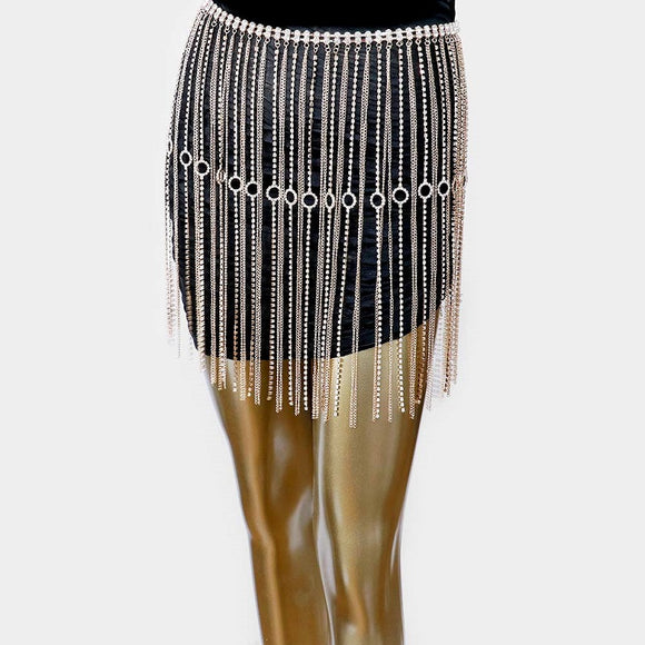 Gold Fringe Rhinestone and Chain Skirt ( 0004 )