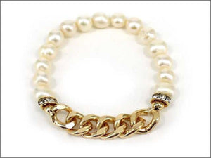 Freshwater Pearl and Gold Chain Stretch Bracelet ( 0501 )