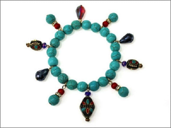 Turquoise Beaded Stretch Bracelet with Crystal and Beaded Charms ( 0650 )