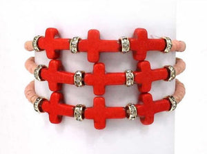 Coral and Pink Beaded Cross Beaded Wrap Around Stretch Bracelet ( 0660 )