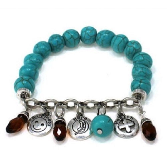 Turquoise Beaded Stretch Bracelet with Happy Health and Hope Silver Charms ( 0726 )
