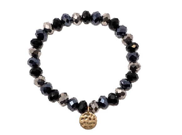 8mm Black Glass Beaded Stretch Bracelet with Gold Hammered Disc ( 1265 )