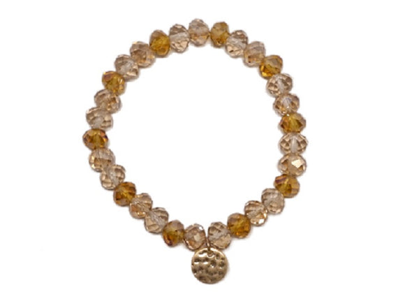 8mm Topaz Glass Beaded Stretch Bracelet with Gold Hammered Disc ( 1265 )