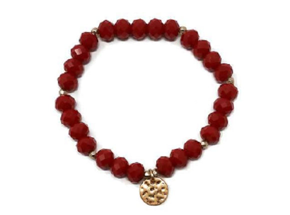 Gold Hammered Disc 8mm Facet Red Glass Beaded Stretch Bracelet ( 1266 )
