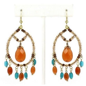 "3"" Long Amber and Turquoise Semi-Precious Stones Dangling Earrings ( 0097 )"