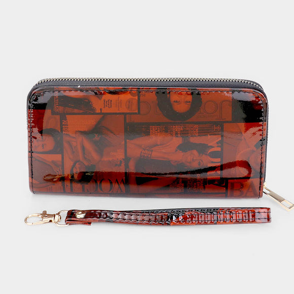 BROWN OBAMA MAGAZINE PRINT WALLET ( 2446 )