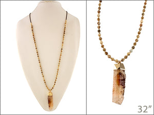 Wooden Beaded Necklace with Peach Stone Pendant