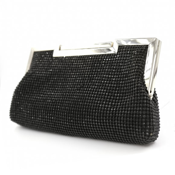 BLACK CLUTCH BLACK STONES PURSE ( 1709 )