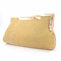 GOLD CLEAR STONES CLUTCH PURSE ( 1709 )