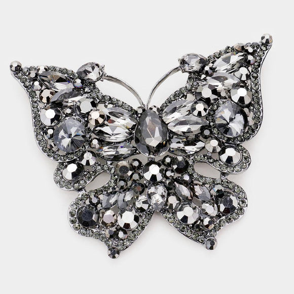 LARGE BUTTERFLY BROOCH PENDANT HEMATITE GRAY ( 2977 HT )