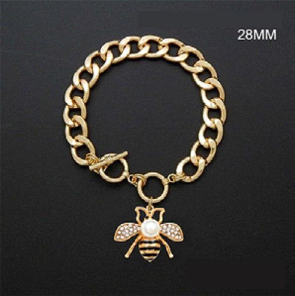 Gold Black Enamel and Clear Rhinestone and Pearl Bee Toggle Charm Bracelet ( 2211 GDCRM )