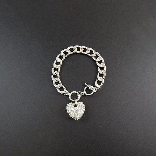 SILVER RHINESTONE HEART CHARM TOGGLE BRACELET ( 9232 SCL  )