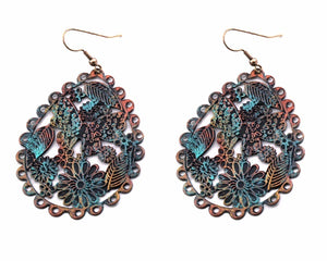 "2.5"" Light Weight Copper, Gold, and Patina Colored Butterfly and Flowers Theme Filigree Style Earrings ( 1780 )"