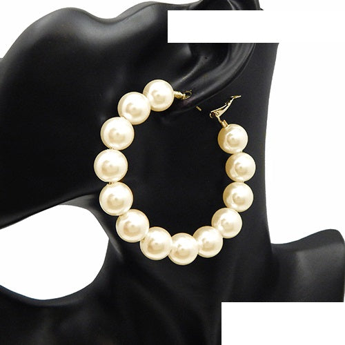 Gold And Cream Colored Pearl Hoop Earrings ( 2977 GDCRM )