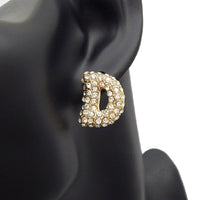 GOLD PUFFY D EARRINGS WITH CLEAR STONES ( 3013 )