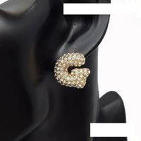 GOLD PUFFY G EARRINGS WITH CLEAR STONES ( 3013 )
