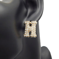 GOLD PUFFY H EARRINGS WITH CLEAR STONES ( 3013 )