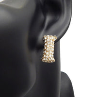 GOLD PUFFY I EARRINGS WITH CLEAR STONES ( 3013 )