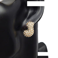 GOLD PUFFY J EARRINGS WITH CLEAR STONES ( 3013 )