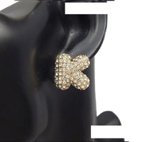 GOLD PUFFY K EARRINGS WITH CLEAR STONES ( 3013 )