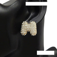 GOLD PUFFY M EARRINGS WITH CLEAR STONES ( 3013 )