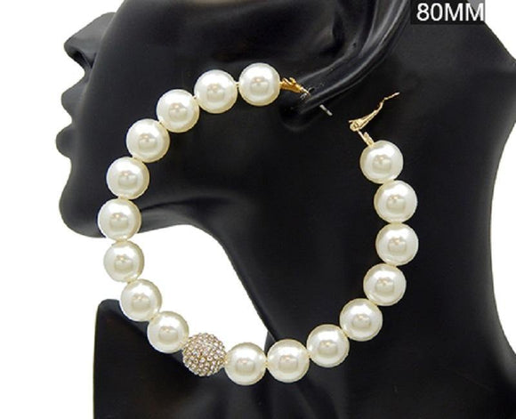 80mm Cream Pearl Ball and Rhinestone Ball Fashion Hoop Earrings ( 2833 GDCRM )