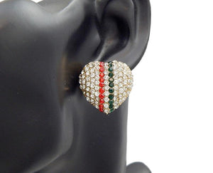 "1"" Gold Clear, Green and Red Vertical Heart Stud Earrings ( 2888 ) - Ohmyjewelry.com"