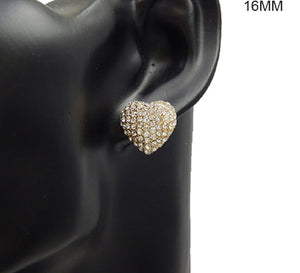 16mm Gold Clear Pave Heart Stud Earrings ( 2898 )