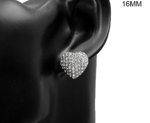16mm Silver Clear Pave Heart Stud Earrings ( 2898 )