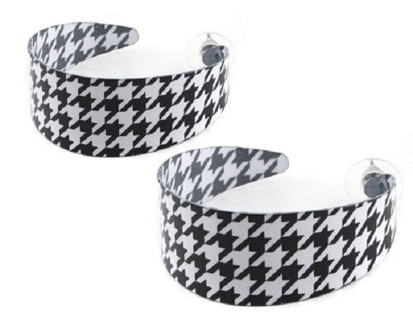 Black and White Wide Houndstooth Hoop Earrings