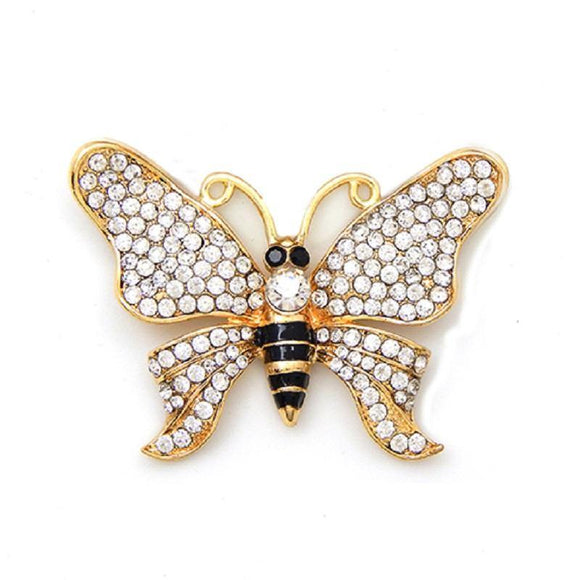 GOLD BUTTERFLY BROOCH CLEAR STONES ( 2006 GDCLR )