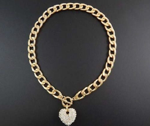 Gold Rhinestone Heart Charm Toggle Necklace ( 1442 )