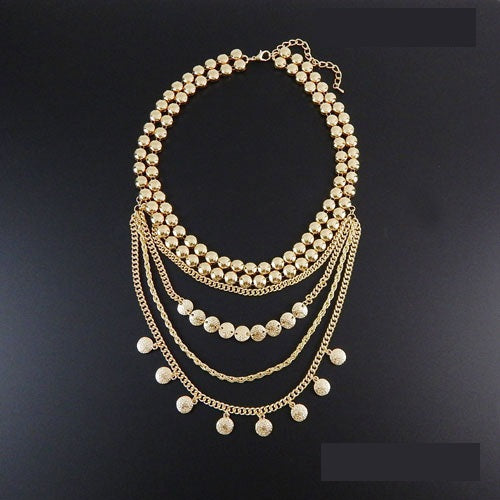 Fashion Necklace with Dangling Round Charms