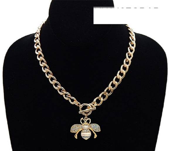 GOLD WHITE AB ENAMEL RHINESTONE BEE TOGGLE NECKLACE ( 3437 )